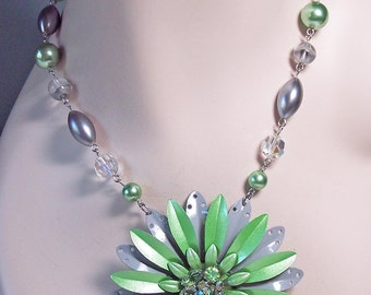 Morning Dew -- A Vintage Mint Green Enamel Flower Statement Necklace - OOAK