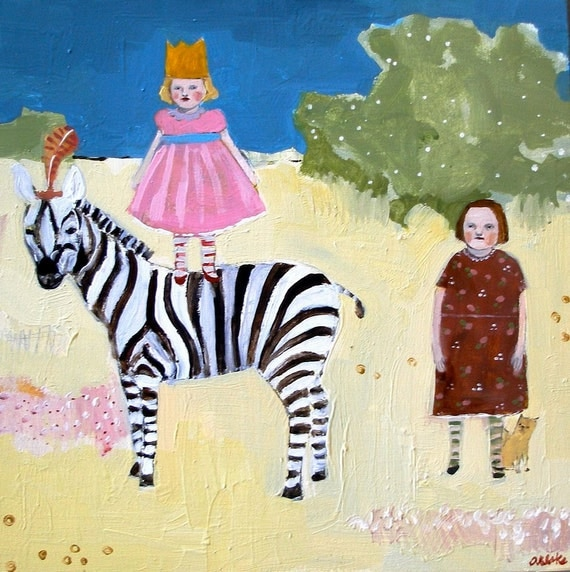 fine art print - Clover's imaginary friend travels by zebra - limited edition reproduction of original oil painting