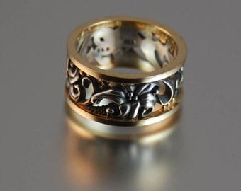 size 7 Ready to ship - FLORAL silver / gold ring Art Nouveau inspired - other sizes made to order