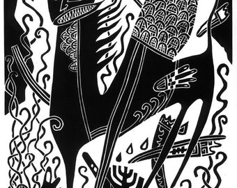The NUMBER Of The BEAST linocut Apocalypse the Book of Revelation