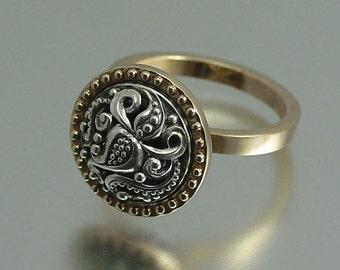 OLGA 14K gold and silver ring