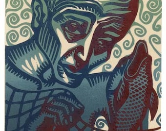OLD FISHERMAN linocut with chine colle