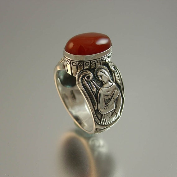 GUARDIAN ANGELS Red Carnelian Mens Silver Ring (size 8 to 14)