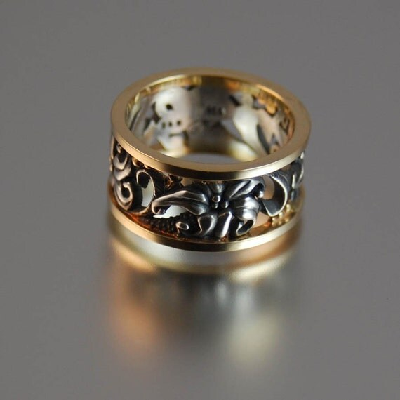 FLORAL silver / gold ring Art Nouveau inspired - sizes 7.25 and 8 are ready to ship - other sizes made to order