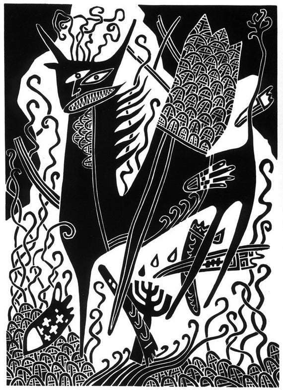 The NUMBER Of The BEAST linocut Apocalypse (the Book of Revelation)