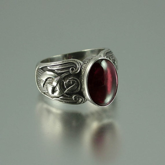 guardian angels silver ring with garnet sizes 8 to by. Black Bedroom Furniture Sets. Home Design Ideas