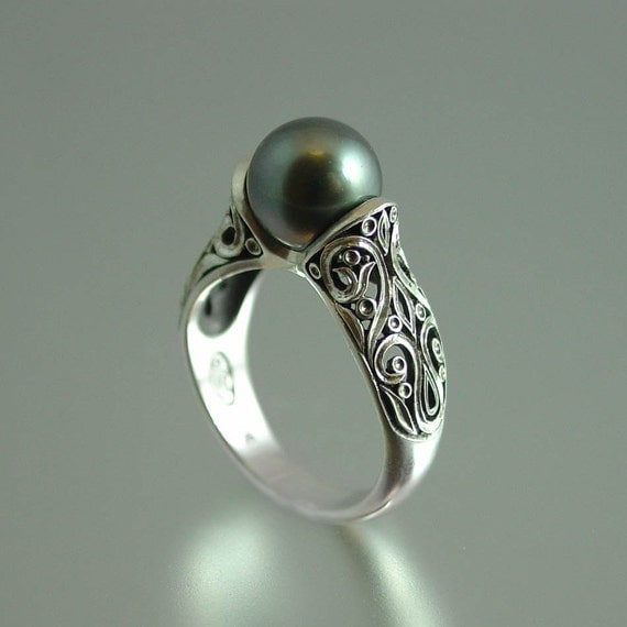 The ENCHANTED Tahitian Pearl 14K white gold ring RESERVED for SB