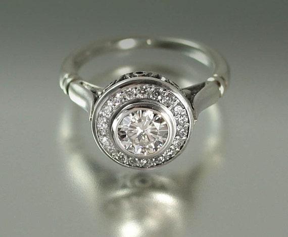THE SECRET DELIGHT 14k gold White Sapphire engagement ring