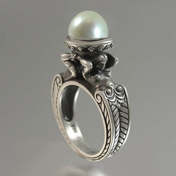 RESERVED for B. CARYATID Silver Ring with White Akoya Pearl