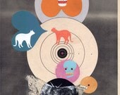 Moth - original mixed media collage art