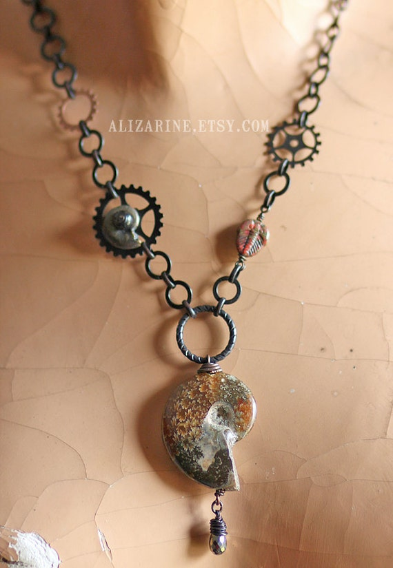 Time Machine II - Steampunk Fossil Necklace with Ammonite