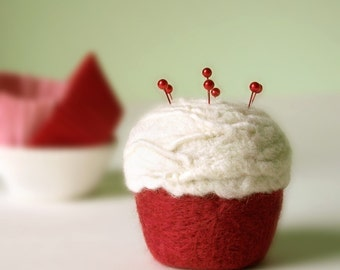 Pincushion - Felted Cupcake, Red Velvet