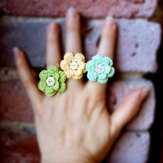 Ring - Yellow Crochet Flower