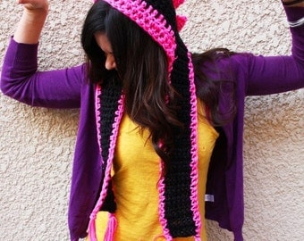 Pink And Black Dinosaur Scoofie - Childrens Size - Crocheted Hooded Scarf