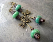 Dragonfly Brass Earrings with Russian Amazonite, Nature Inspired Jewelry, Bohemian Earrings, Natural Gemstone Jewelry, Insect Jewelry