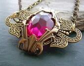 Art Deco Vintage Glass -  Victorian Style Necklace - Antique Gold Brass