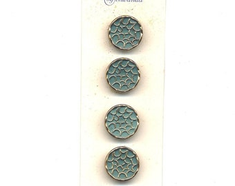 Set of 8 TURQUOISE 1940s Abstract Glass Buttons 2  Original Cards  11/16 inch size   MORE AVAILABLE