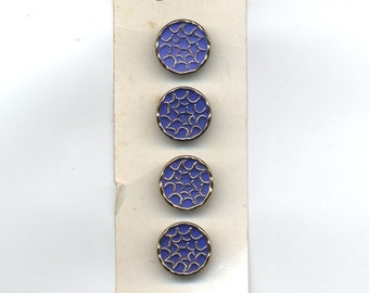 Vintage Glass Buttons Set of (8) 1940s Abstract  Two Original Cards COBALT Blue 11/16 inch size   MORE AVAILABLE