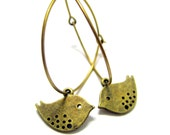 Brass Cute Birds Hoop Earrings // Brass Birds Charms // Brass Big Hoops // Gift under 15