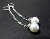 Bridal Swing Earrings // White Swarovski Pearls // Silver Chain Earrings // Silver Rhinestones Square Rondells // Bridal Earrings