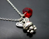 """Rabbit with Love Necklace // Silver Rabbit Charm // Red Swarovski Crystal Heart // 17"""" Silver Chain // Alice in Wonderland Inspired"""