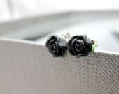 Petite Black Roses Stud Earrings // Polymer Clay Black Roses // Rhodium Posts // Petite Everyday Earrings // Last Piece