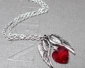 """Good Hearted Angel Necklace // Silver Angel Wings Charm // Red Swarovski Crystal Heart // 17"""" Silver Chain // Valentine Gift under 20"""