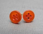 Orange Sherbet Button Stud Earrings // Citrus Bright Orange // Gift under 10