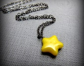 "Bright Yellow Star Necklace // Yellow Czech Glass Bead // 17"" Gunmetal Chain Necklace"