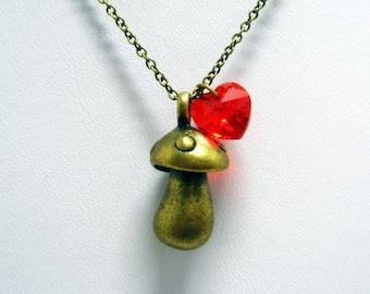 "I LOVE Mushroom Necklace // Brass 3D Solid Mushroom Charm // Red Swarovski Crystal Heart // 17"" Brass Chain // Fairytale Inspired"
