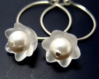 Snowdrops Silver Hoop Earrings // Misty Flowers with White Swarovski Pearls // Various Colors Rainbow Selection // Gift under 20