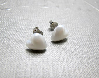 Little White Hearts Stud Earrings // White Faux Pearl Hearts // Rhodium Posts // Valentine and Bridal Gift under 10