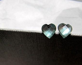 Little Moss Green Hearts Stud Earrings // Moss Green Heart Rhinestones // Rhodium Posts // Valentine Gift under 10