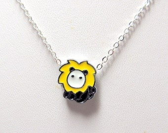 """Small Lion with a Big Roar Necklace // Yellow Enamel Lion Charm // 17"""" Silver Chain // Wizard of Oz inspired // Gift under 20"""