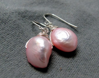 Natural Pink Freshwater Pearl Earrings // Uniquely Shaped // Silver Plated Wire Wrapped Earrings // Gift under 15