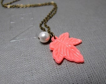 "Coral Maple Pearl Necklace // Coral Vintage Pressed Maple Leaf Charm // White Swarovski Pearl // 17"" Brass Chain // Fall Gift under 20"