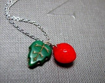 "Strawberry Tree Necklace // Red Strawberry Czech Glassbead // Green Leaf Glassbead // 17"" Silver Chain // Gift under 15"