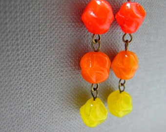 Cherry Tomatoes Czech Glass Earrings // Yellow and Orange Glassbeads // Brass Earrings // Gift under 15
