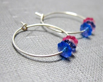 Margarita Flower Hoop earrings // Blue Purple and Pink Swarovski Crystal Flowers // Silver Hoop Earrings // Gift under 15