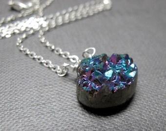 """Sparkle Titanium Druzy Briolette Necklace // Titanium Druzy Gemstone // 17"""" Silver Chain // Semi Precious Gemstone Necklace under 30"""