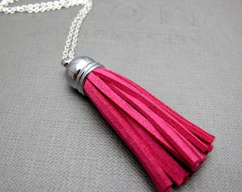 """Fuchsia Pink Suede Tassel with Silver Cap Necklace // Variety of Colors // 24"""" Silver Chain"""