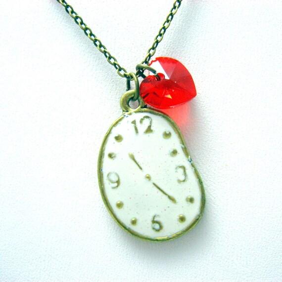 CLEARANCE - Melting Clock Necklace // Enamel Brass Clock Charm // Red Swarovski Crystal Heart // Dali Inspired // Last Piece
