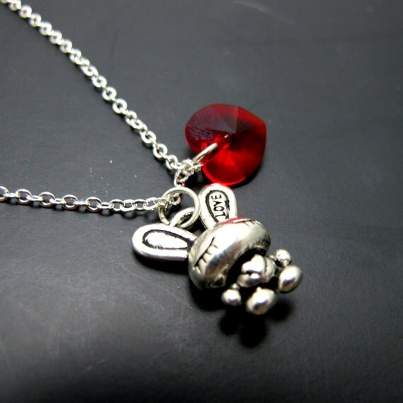"Rabbit with Love Necklace // Silver Rabbit Charm // Red Swarovski Crystal Heart // 17"" Silver Chain // Alice in Wonderland Inspired"