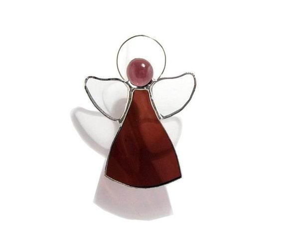 RESERVED FOR GIANNABIO Aubergine Angel Stained Glass Suncatcher