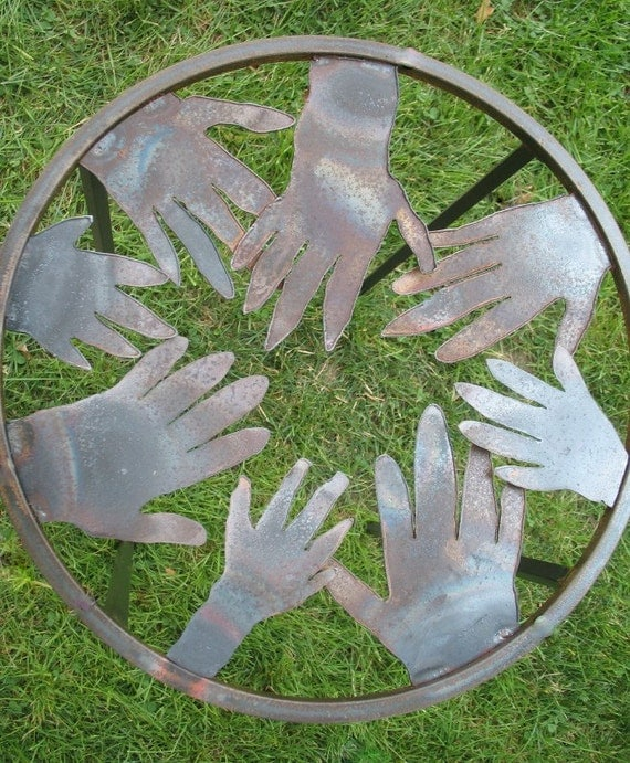 Side Table Steel Circle of Hands