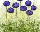 Watercolor Painting: Watercolor Flower Painting -- Art Print --  Sweet Memories -- Purple Flowers -- 8x10