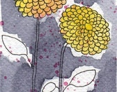 Watercolor Painting: Watercolor Flower Painting -- Mini Art Print -- Two Yellow Zinnias -- ACEO Print