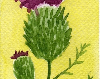 Watercolor Painting: Watercolor Flower Painting -- Mini Art Print -- Thistle -- Flower -- ACEO Print