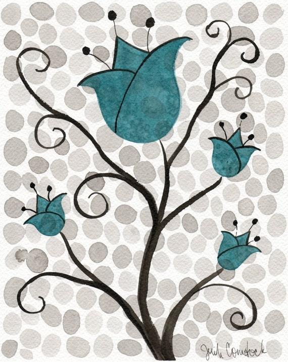 Watercolor Painting: Watercolor Flower Painting -- Art Print --  Aqua Polka-Dot Flowers -- Scandinavian Tulips -- 8x10