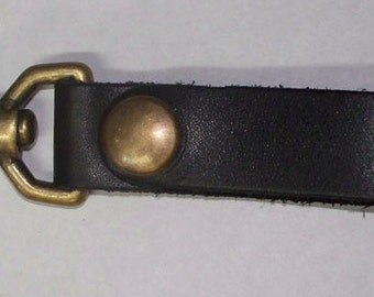 Black Leather Key Fob/Steampunk Harness Clip Belt Clip Tankard Strap by Darkwear Clothing